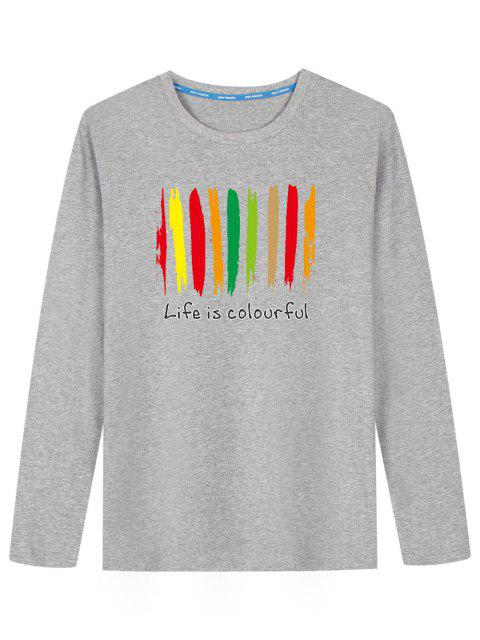 online Graphic Colorful Print Long Sleeve T-shirt - GRAY 2XL Mobile