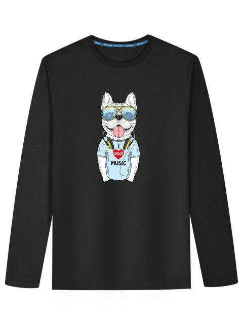 latest Cute Dog Print Long Sleeve T-shirt - BLACK XL Mobile