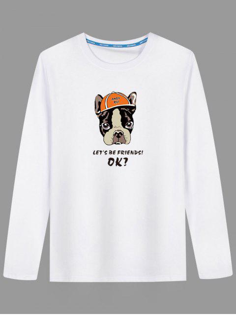 Karikatur-Hundelange Hülsen-T-Shirt - Weiß 3XL Mobile