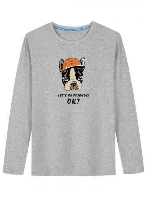 ladies Cartoon Dog Long Sleeve T-shirt - GRAY XL Mobile