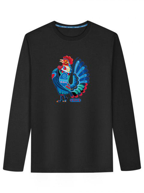 Camiseta con estampado de pollo de manga larga - Negro 2XL Mobile