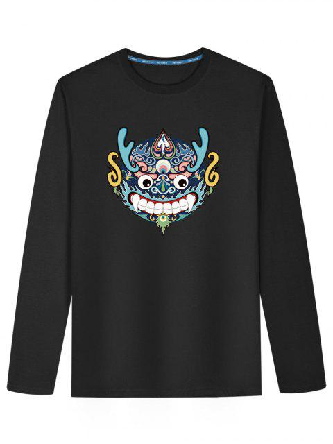unique Chinese Dragon Head Long Sleeve T-shirt - BLACK L Mobile