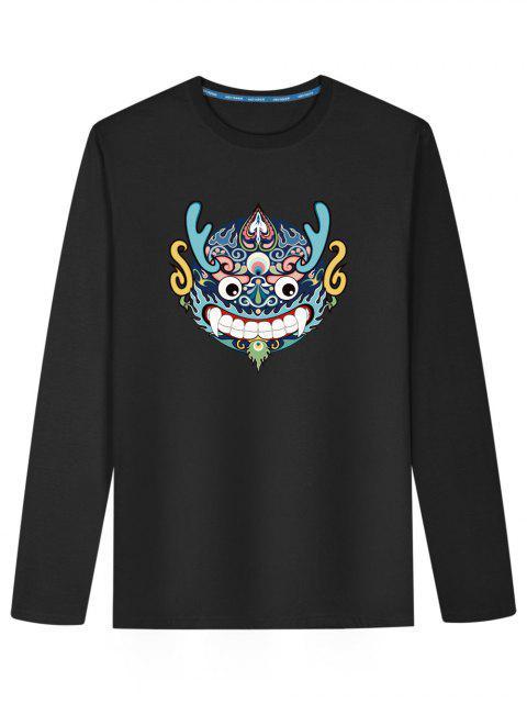 Chinesisches Drache-Kopf-langes Hülsen-T-Shirt - Schwarz L Mobile