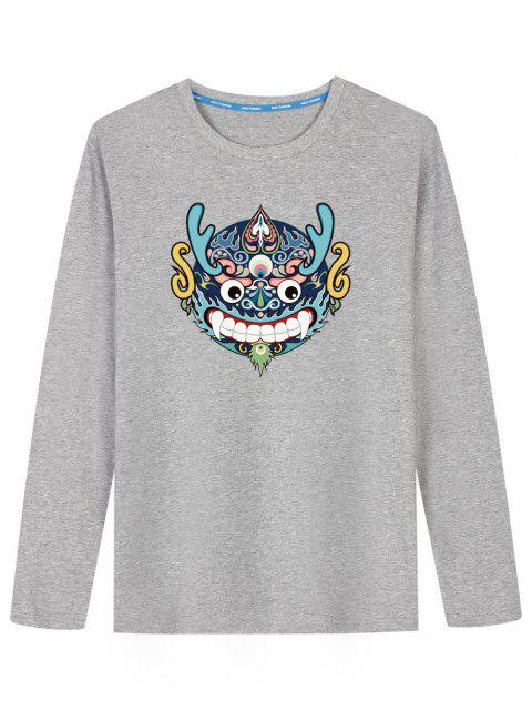 fancy Chinese Dragon Head Long Sleeve T-shirt - GRAY XL Mobile