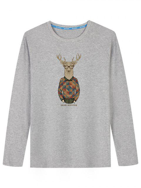 T-shirt Imprimé Wapiti Cartoon - Gris L Mobile