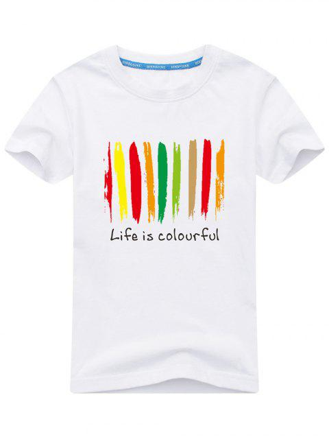 hot Colorful Print Short Sleeve T-shirt - WHITE 5XL Mobile