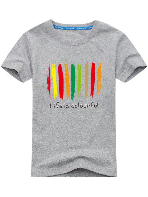 online Colorful Print Short Sleeve T-shirt - GRAY L Mobile