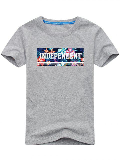 T-shirt à Motif Floral - Gris L Mobile