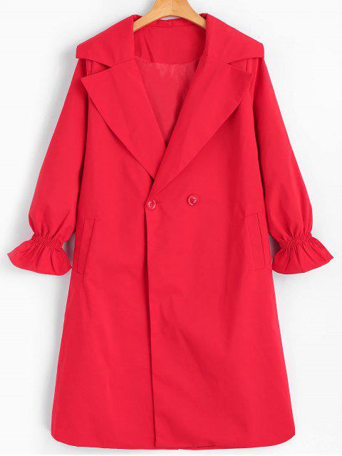 new Long Lantern Sleeve Trench Coat - RED 2XL Mobile