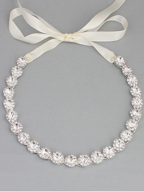 shops Sparkly Rhinestone Wedding Ribbon Hair Accessory -   Mobile