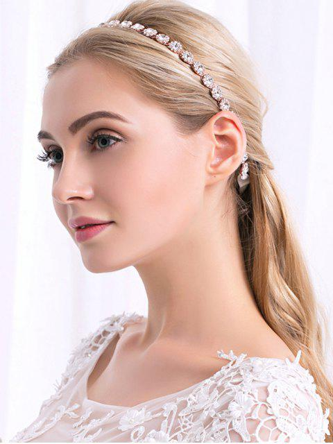 fashion Sparkly Rhinestone Wedding Ribbon Hair Accessory - ROSE GOLD  Mobile