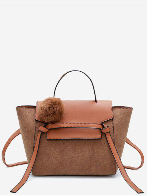 affordable Pompom Color Blocking PU Leather Crossbody Bag - BROWN  Mobile