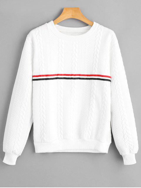 ladies Stripe Panel Braided Pattern Sweatshirt - WHITE M Mobile
