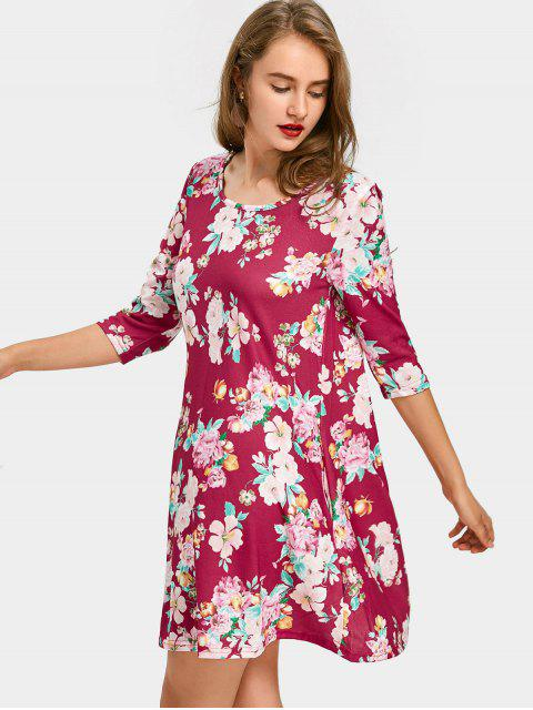 fancy Floral Print Mini Dress with Pockets - FLORAL XL Mobile