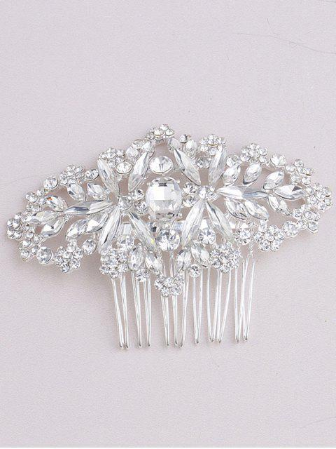 fancy Sparkly Rhinestoned Bridal Hair Comb - WHITE  Mobile