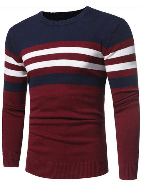 hot Crew Neck Color Block Stripe Panel Knitted Sweater - CLARET 3XL Mobile