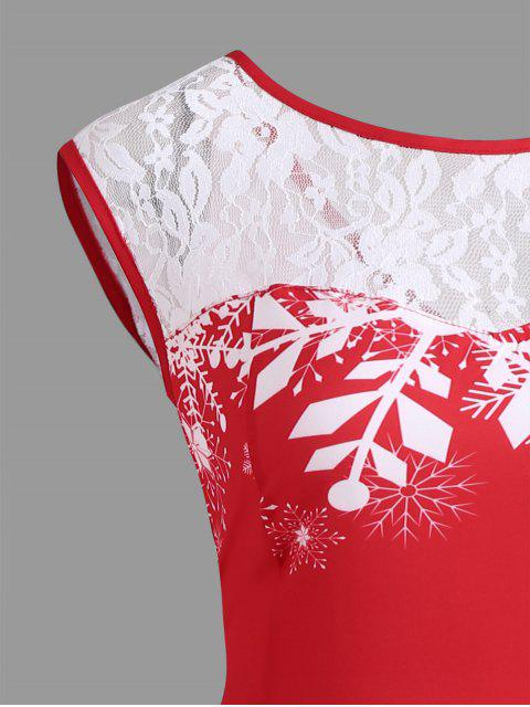 shops Christmas Lace Insert Santa Claus Print Party Dress - RED XL Mobile