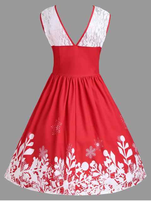fashion Christmas Lace Insert Santa Claus Print Party Dress - RED 2XL Mobile
