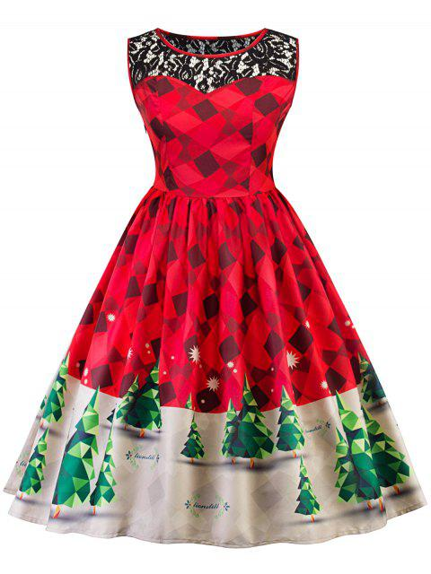 women Vintage Lace Insert Christmas Pin Up Skater Dress - RED L Mobile
