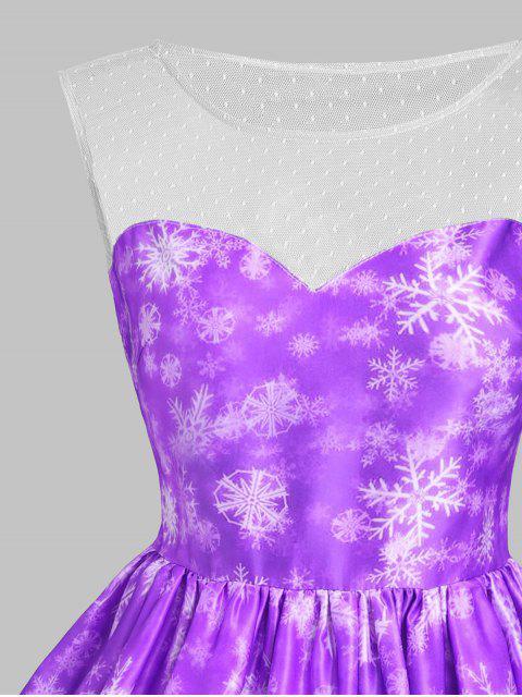 Vestido de Navidad Mesh Snowflake Snowflake - Púrpura XS Mobile