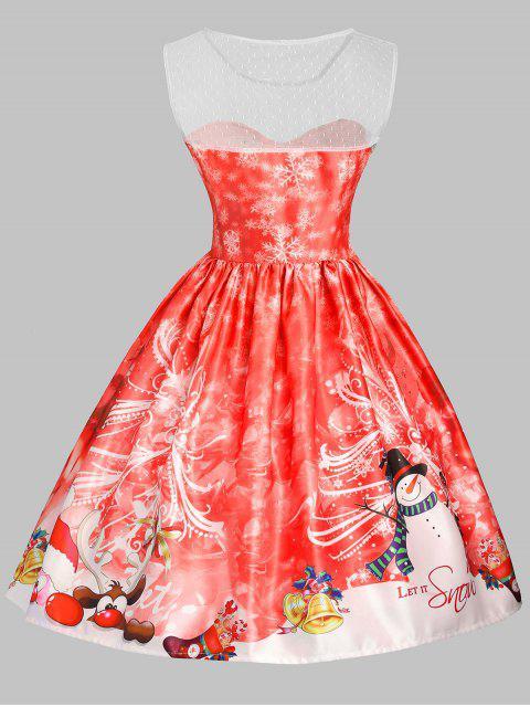 Vestido de Navidad Mesh Snowflake Snowflake - Rojo S Mobile