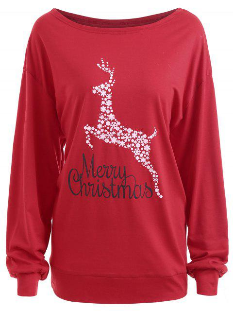 Plus Size Frohe Weihnachten Floral Deer Graphic T-Shirt - Rot 2XL Mobile