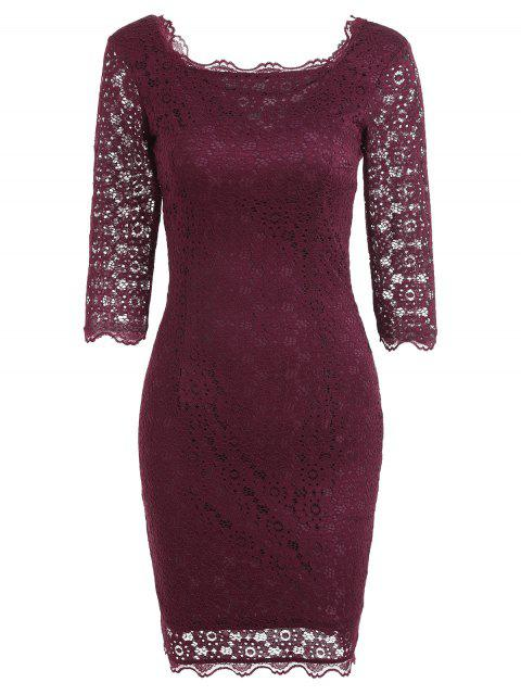 Cut Out Lace Bodycon Party Dress - Rouge vineux  M Mobile