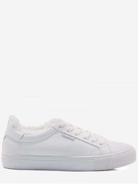 trendy Faux Fur Warm Round Toe Low Top Sneakers - WHITE 35 Mobile