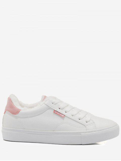 affordable Faux Fur Warm Round Toe Low Top Sneakers - PINK 39 Mobile