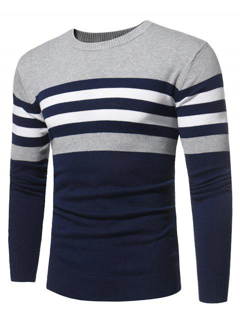 trendy Crew Neck Color Block Stripe Panel Knitted Sweater - DEEP BLUE 2XL Mobile