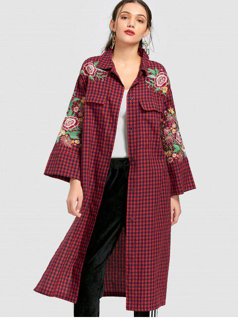 shops Floral Embroidered Long Checked Shirt - RED L Mobile