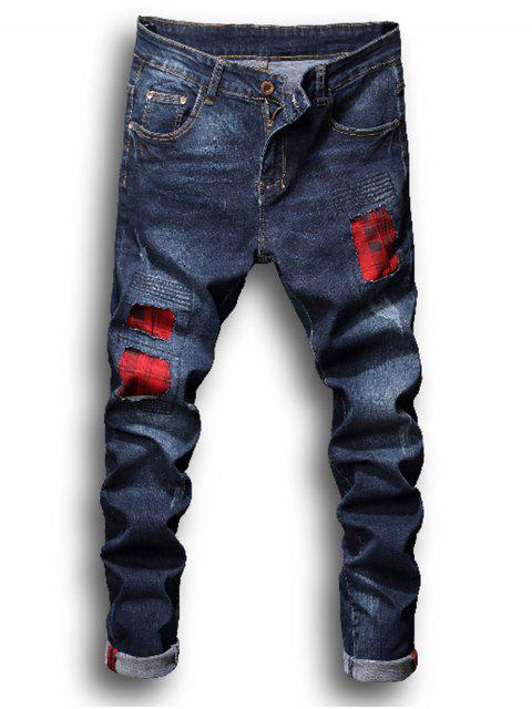 fashion Zipper Fly Tartan Patch Pleat Bleached Ripped Jeans - DENIM BLUE 36 Mobile
