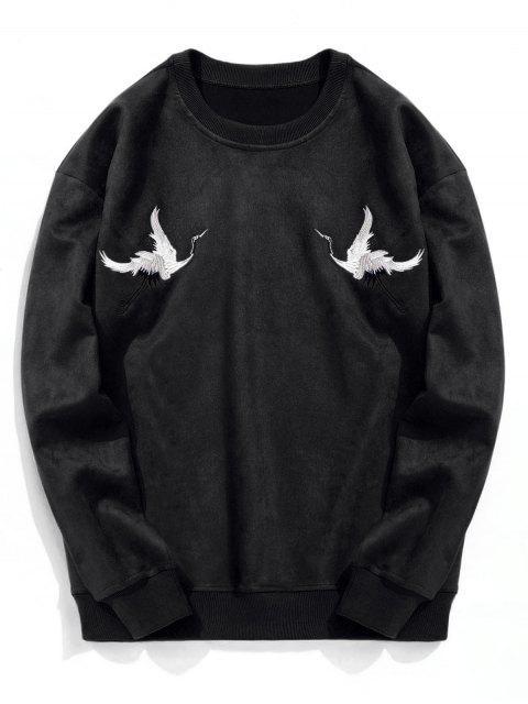Sweat-shirt à Grue Brodée en Suède - Noir S Mobile