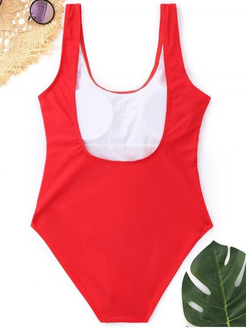 Traje de baño de corte alto y espalda baja acolchado - Rojo L Mobile