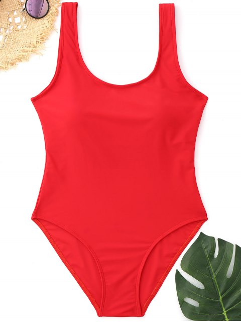affordable Padded Low Back High Cut Swimwear - RED L Mobile