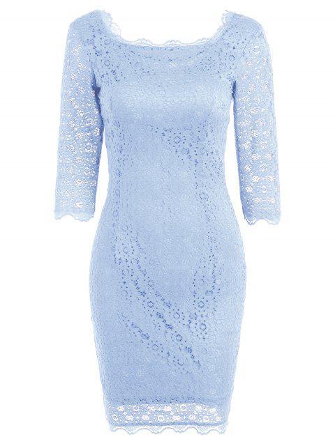 Robe de Soirée Moulante avec Découpes en Dentelle - Pantone Turquoise S Mobile