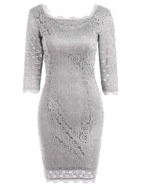 Vestido de fiesta de bodycon de encaje cortado - Gris Claro XL Mobile