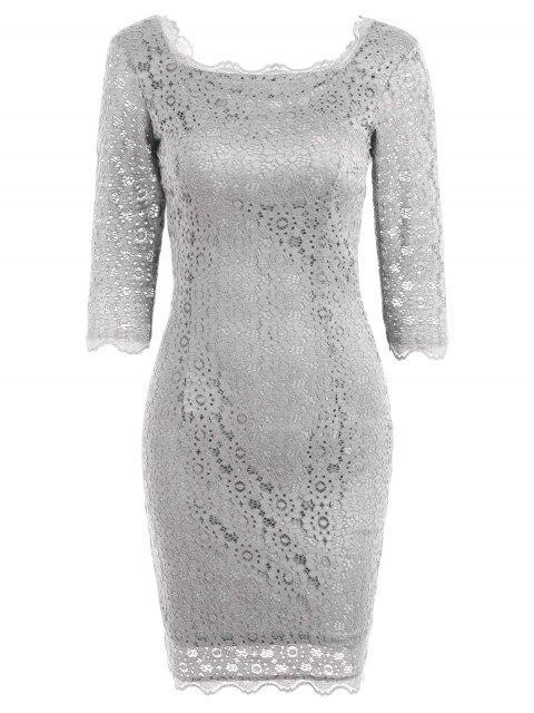 Robe de Soirée Moulante avec Découpes en Dentelle - Gris Clair M Mobile