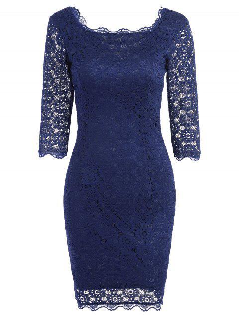 Vestido de fiesta de bodycon de encaje cortado - Azul Purpúreo 2XL Mobile