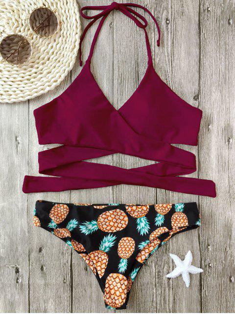 womens Halter Pineapple Print Wrap Bikini - BURGUNDY M Mobile