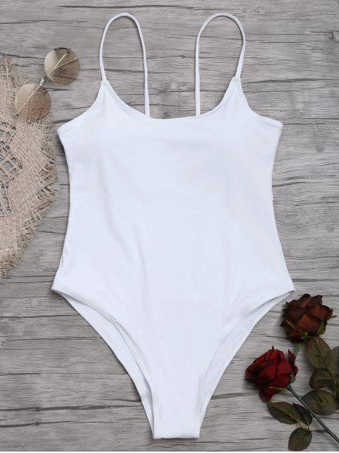hot Cami High Cut One Piece Swimsuit - WHITE M Mobile