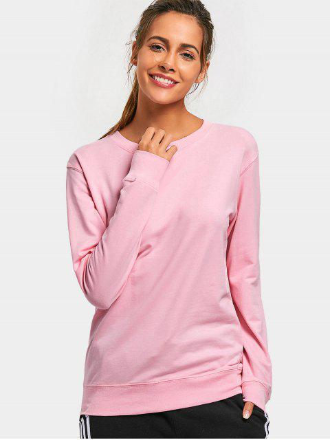 lady Casual Plain Sweatshirt - PINK M Mobile