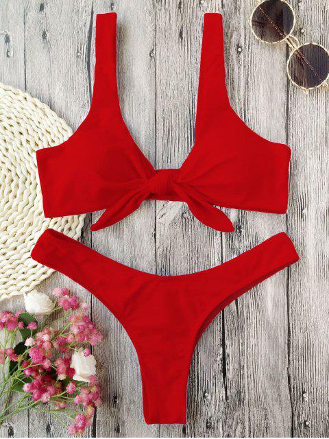 Bikini de Tanga Anudado con Pliegues - Rojo S Mobile