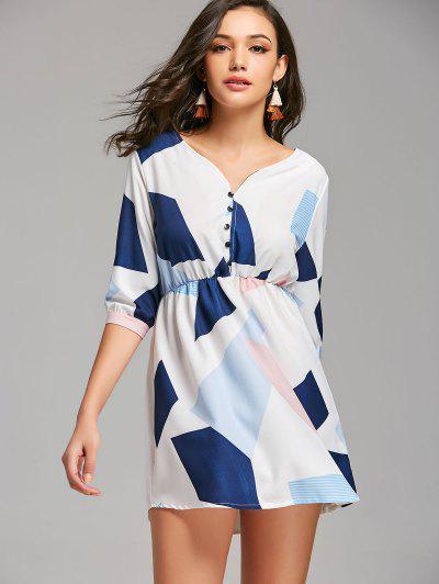 Half Zip Geometric Mini Casual Dress - Multicolor M