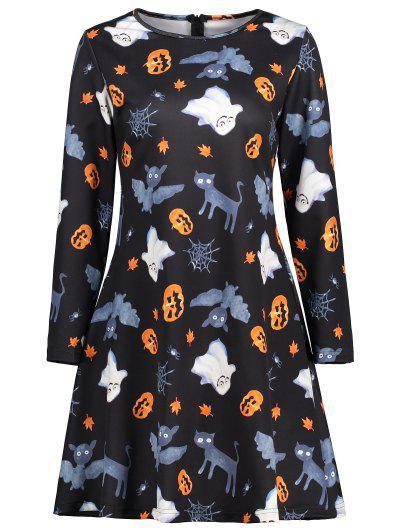 Ghost Pumpkin Graphic Halloween Flare Dress - Black M