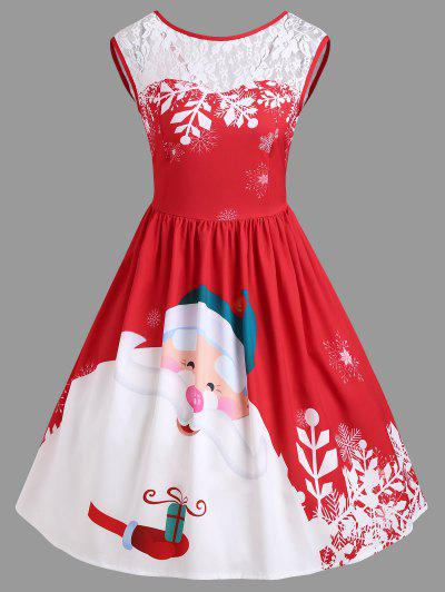 Christmas Lace Insert Santa Claus Print Party Dress - Red Xl