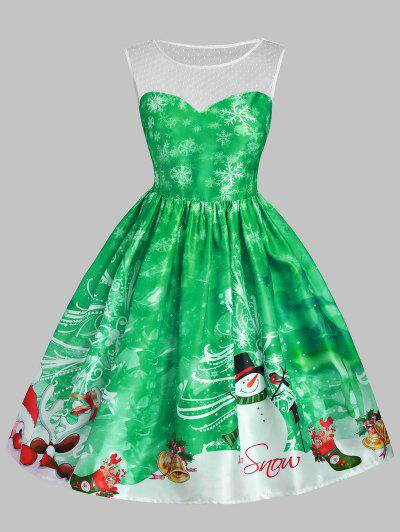 christmas snowman snowflake mesh panel dress green l - Green Christmas Dress