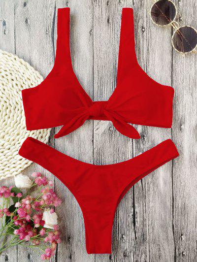 Scrunch Butt Knotted Thong Bikini - Red M