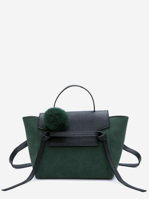 Pompom Color Blocking PU Leather Crossbody Bag