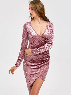 Plunging Neck Velvet Asymmetric Dress